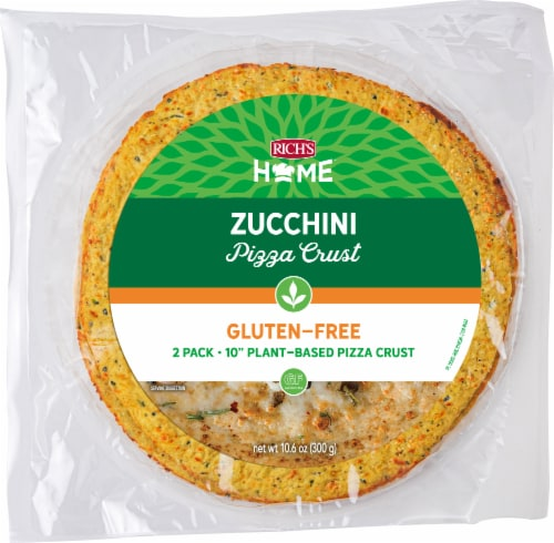 """Rich's Home 10"""" Zucchini Pizza Crust, Gluten Free, Plant Based, Pack of 6 Perspective: front"""