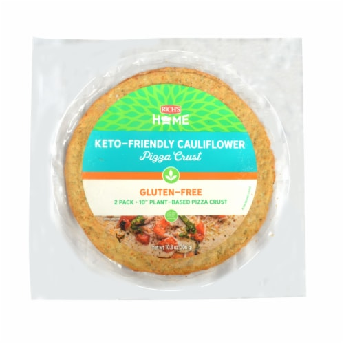"""Rich's Home 10"""" Cauliflower Pizza Crust, Keto Friendly, Gluten Free, Pack of 6 Perspective: front"""