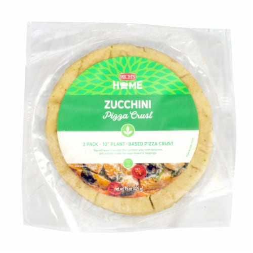 """Rich's Home 10"""" Zucchini Pizza Crust, Parbaked, Plant-Based, Pack of 6 Perspective: front"""