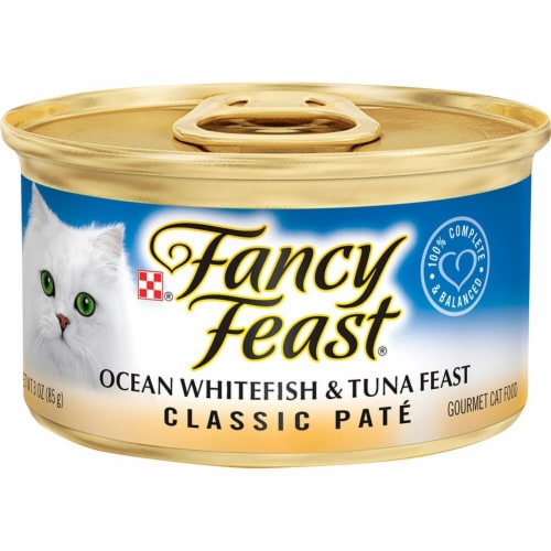 Fancy Feast Classic Pate Ocean Whitefish & Tuna Feast Wet Cat Food Perspective: front