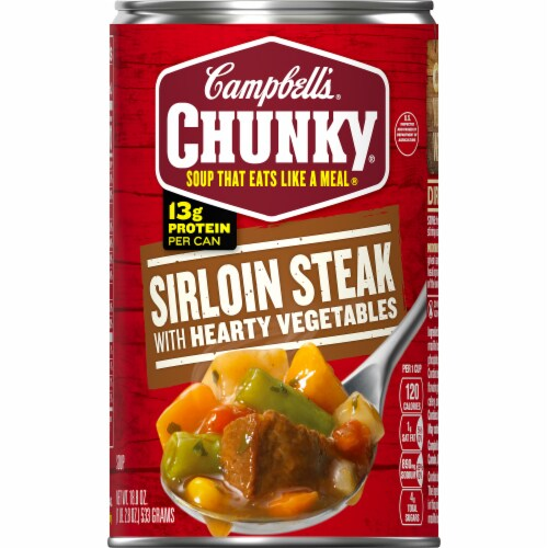 Campbell's Chunky Grilled Sirloin Steak with Hearty Vegetables Soup Case Sale Perspective: front