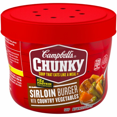 Campbell's Chunky Sirloin Burger with Country Vegetables Soup Case Perspective: front