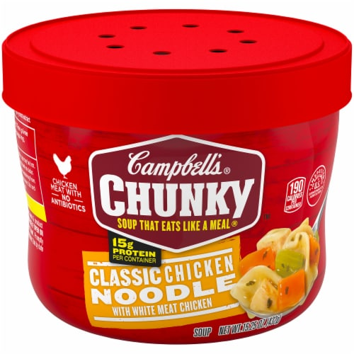 Campbell's Chunky Classic Chicken Noodle Soup 8 Count Perspective: front