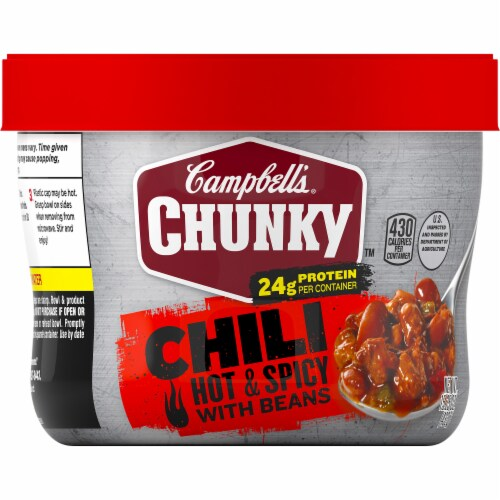 Campbell's Chunky Hot & Spicy Chili with Beans Microwavable Bowls 8 Count Perspective: front