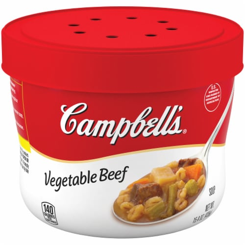 Campbell's Vegetable Beef Microwavable Bowl 8 Count Perspective: front