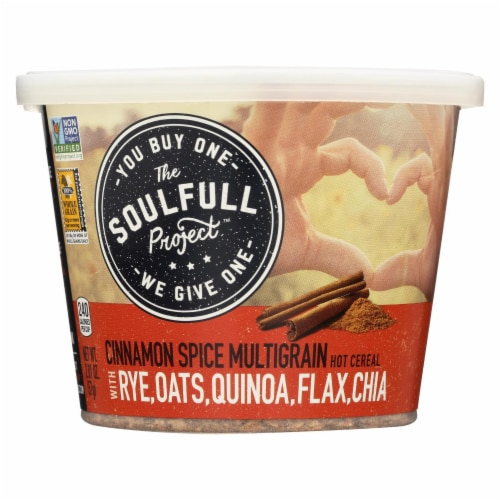 The Soulfull Project Cinnamon Spice Hot Cereal w Rye Oats Quinoa Flax n Chia-6Case-2.01oz Perspective: front