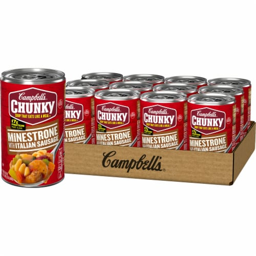 Campbell's Chunky Minestrone with Italian Sausage Soup Case Sale Perspective: front