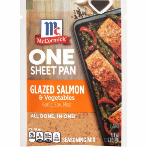 McCormick One Sheet Pan Glazed Salmon & Vegetables Seasoning Mix 12 Count Perspective: front