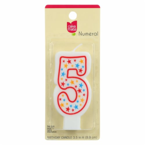 Cake Mate - Birthday Party Candle - Numeral - 5 - 3 in - 1 Count - Case of 6 Perspective: front