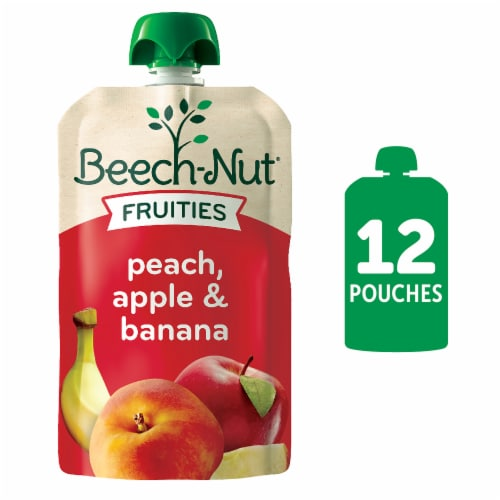 Beech-Nut Fruit on the Go Peach Apple Bananan Baby Food Pouches Perspective: front