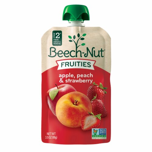 Beech-Nut Apple Peach & Strawberry Stage 2 Fruities Baby Food Pouch Perspective: front