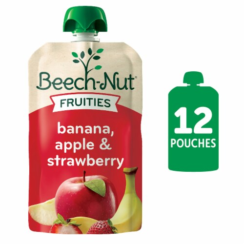 Beech-Nut Fruities Banana Apple Strawberry Stage 2 Baby Food Perspective: front