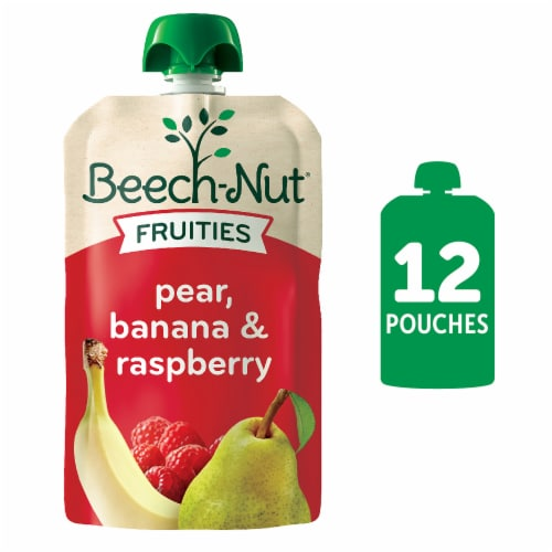 Beech-Nut Fruities Pear Banana & Raspberry Stage 2 Baby Food Pouch Perspective: front
