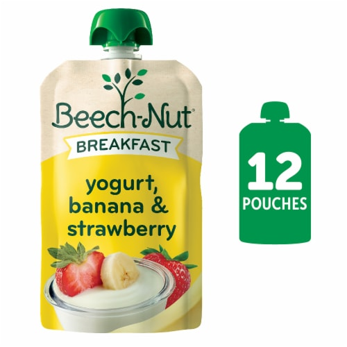 Beech-Nut Breakfast Yogurt Banana & Strawberry Blend Stage 4 Baby Food Pouches Perspective: front