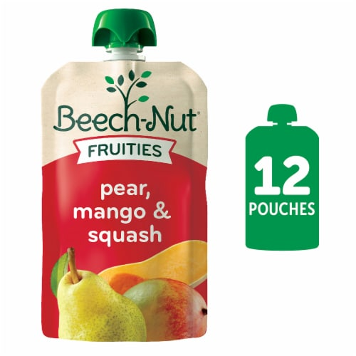 Beech-Nut Fruities Pear Mango & Squash Stage 2 Baby Food 12 Count Perspective: front