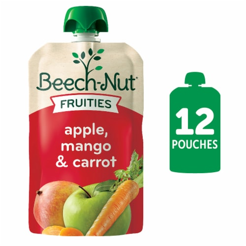Beech-Nut Fruities Apple Mango & Carrot Puree Stage 2 Baby Food Pouch Perspective: front