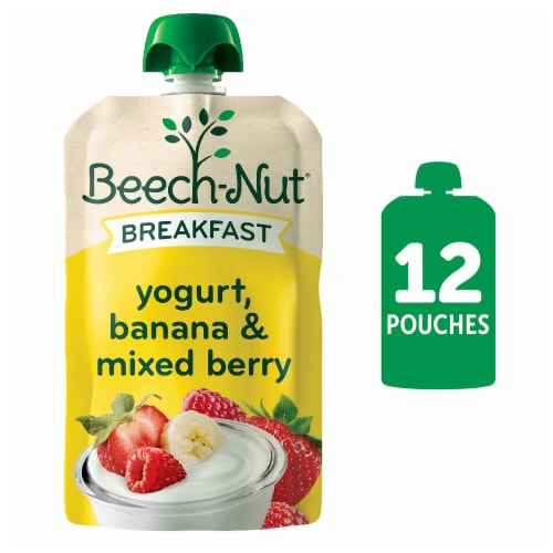 Beech-Nut Breakfast Yogurt Banana & Mixed Berry Stage 4 Baby Food Pouches 12 Count Perspective: front