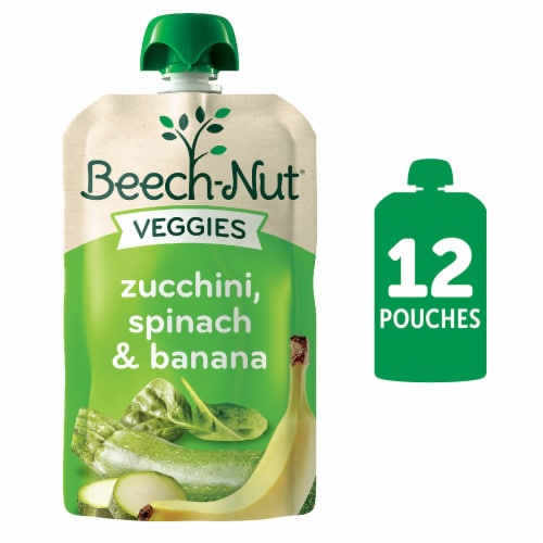 Beech-Nut Veggies Zucchini Spinach & Banana Stage 2 Baby Food Perspective: front