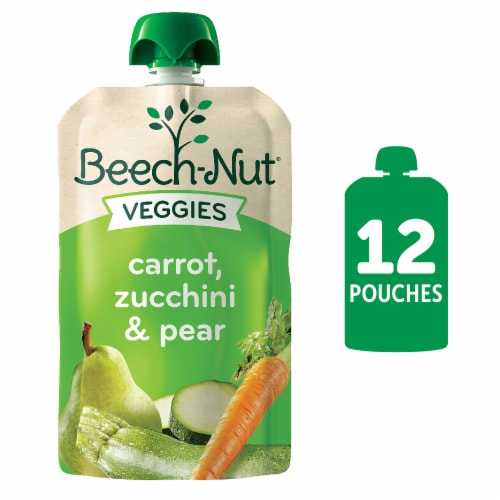 Beech-Nut Veggies Carrot Zucchini & Pear Stage 2 Baby Food 12 Count Perspective: front
