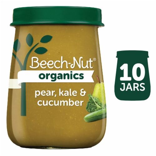Beech-Nut Organics Pear Kale & Cucumber Stage 2 Baby Food 10 Count Perspective: front