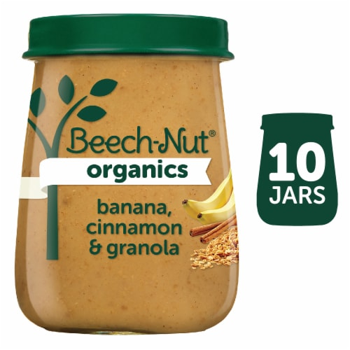 Beech-Nut Organic Banana Cinnamon & Granola Stage 2 Baby Food 10 Count Perspective: front