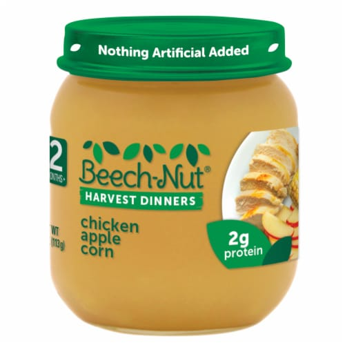 Beech-Nut Chicken Apple Corn Harvest Dinners Stage 2 Baby Food Perspective: front