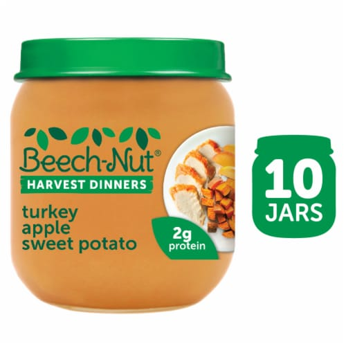Beech-Nut Harvest Dinners Turkey Apple Sweet Potato Baby Food Perspective: front