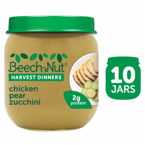 Beech-Nut Harvest Dinners Chicken Pear Zucchini Baby Food Perspective: front