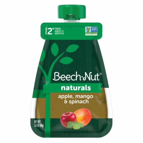 Beech-Nut Natural Apple Mango Spinach Stage 2 Baby Food Pouch Perspective: front