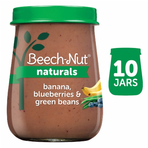Beech-Nut Naturals Banana Blueberries & Green Beans Stage 2 Baby Food 10 Count Perspective: front