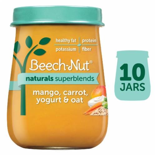 Beech-Nut Naturals Superblends Mango Carrot Yogurt Oat Baby Food Jar Perspective: front