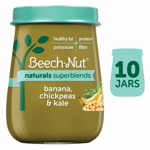 Beech-Nut Naturals Superblends Banana Chickpeas & Kale Baby Food Perspective: front