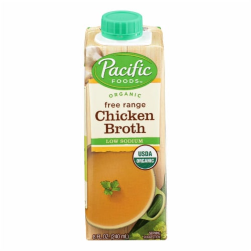 Pacific Natural Foods Free Range Chicken Broth - Low Sodium - Case of 6 - 8 Fl oz. Perspective: front