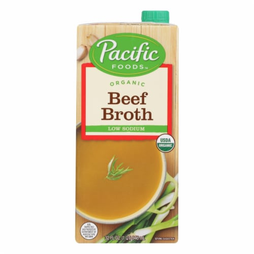 Pacific Natural Foods Beef Broth - Low Sodium - Case of 12 - 32 Fl oz. Perspective: front