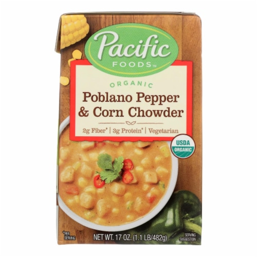 Pacific Natural Foods Organic Poblano - Pepper and Corn Chowder - Case of 12 - 17 oz. Perspective: front