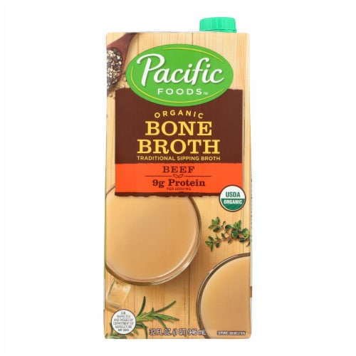 Pacific Natural Foods Organic Beef Bone Broth - Case of 12 - 32 FZ Perspective: front