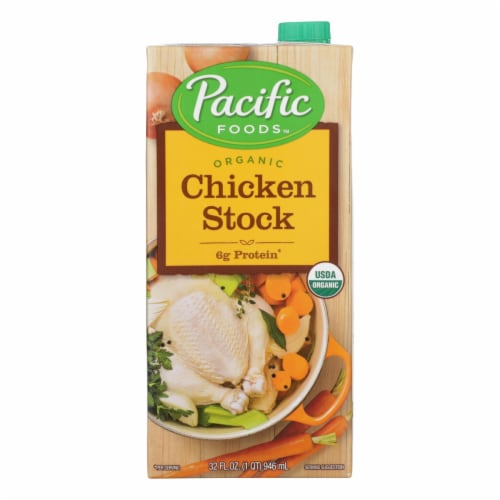 Pacific Natural Foods Simply Stock - Chicken - Case of 12 - 32 Fl oz. Perspective: front