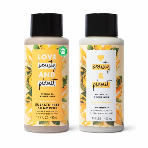 Love Beauty and Planet Coconut Oil & Ylang Ylang Shampoo & Conditioner Set Perspective: front