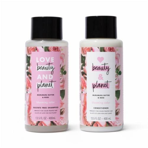 Love Beauty and Planet Murumuru Butter & Rose Blooming Color Shampoo & Conditioner Set Perspective: front