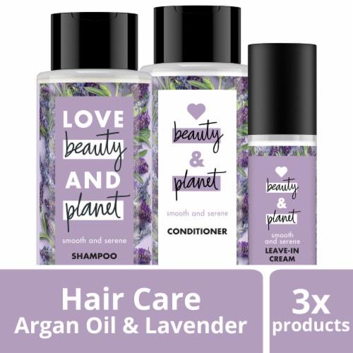 Love Beauty and Planet Argan Oil & Lavender Shampoo Conditioner and Leave-In Smoothie Cream Perspective: front