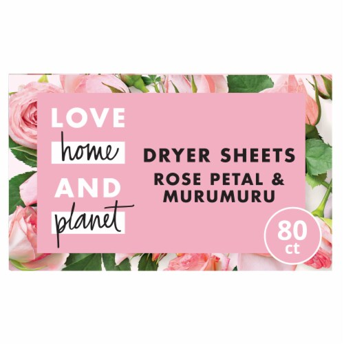 Love Home & Planet Rose Petal & Murumuru Dryer Sheets Perspective: front
