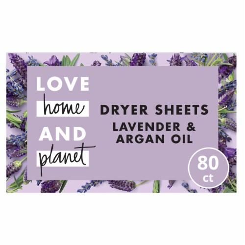 Love Home & Planet Lavender & Argan Oil Dryer Sheets Perspective: front