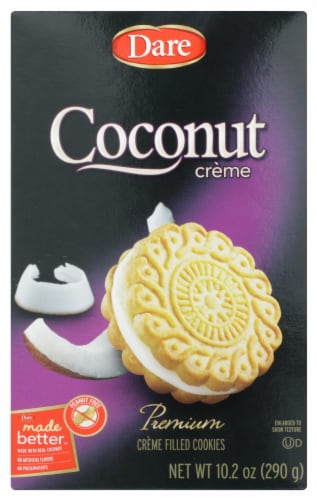 Dare Coconut Premnium Crème Filled cookies Peanut Free 10.2 OZ (Pack of 12) Perspective: front