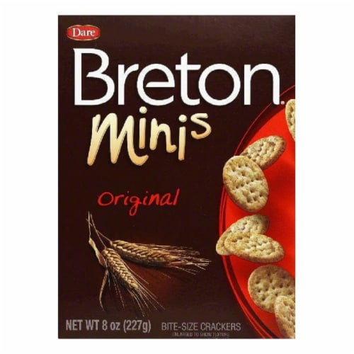 Dare Breton Crackers Minis Original Wheat, 8 OZ (Pack of 12) Perspective: front