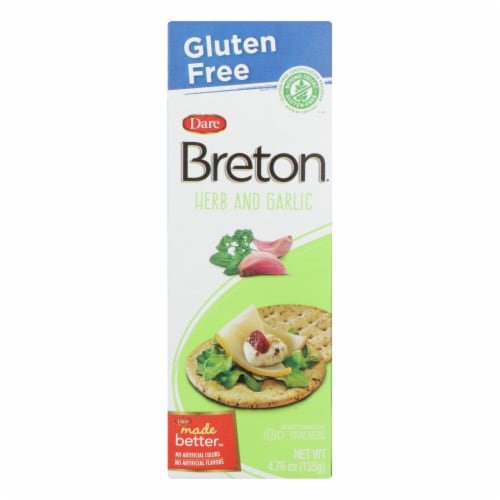 Breton/Dare - Crackers - Herb and Garlic - Case of 6 - 4.76 oz. Perspective: front