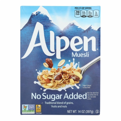 Alpen No Added Sugar Muesli Cereal - Case of 12 - 14 oz. Perspective: front