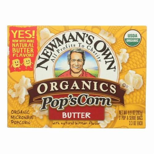 Newman's Own Organics - Butter Microwave Popcorn - Case of 12 - 3/3.3 oz Perspective: front