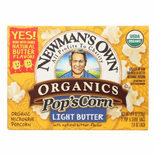 Newman's Own Organics - Light Butter Organic Popcorn - Case of 12 - 2.8 oz Perspective: front