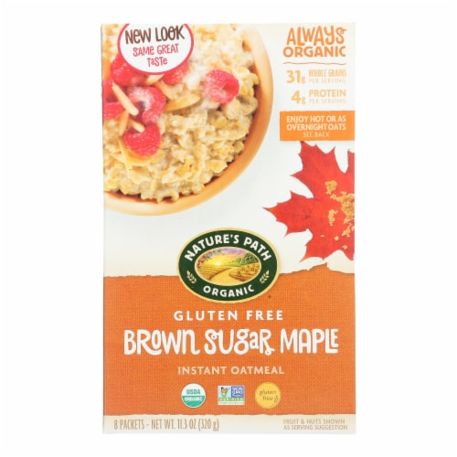 Nature's Path Organic Hot Oatmeal - Brown Sugar Maple - Case of 6 - 11.3 oz. Perspective: front