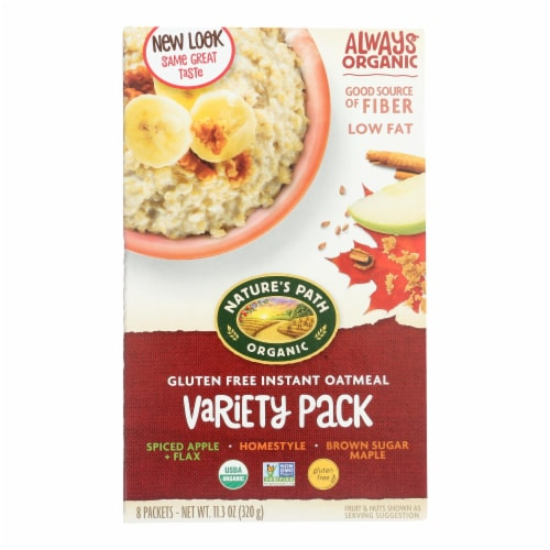 Nature's Path Organic Hot Oatmeal - Variety Pack - Case of 6 - 11.3 oz. Perspective: front